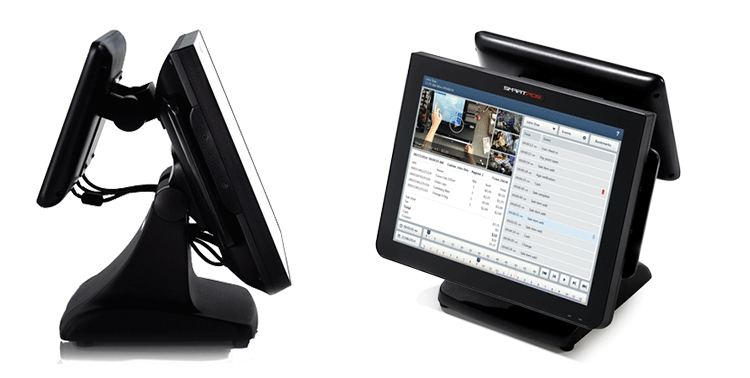 SmartPOS 800 Side View and Touchscreen Video Journaling Interface